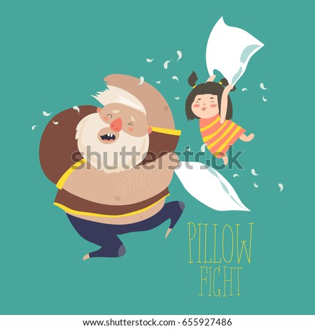dad and daughter playing pillow