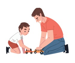 Dad and his Son Sitting on Floor Playing Toy Cars, Father and his Kid Having Good Time Together Cartoon Style Vector Illustration