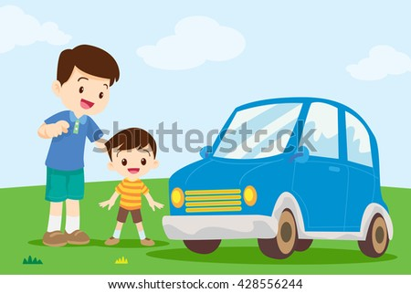 dad and son looking at car