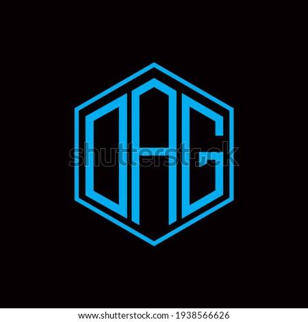 DAG polygon letter icon design on BLACK background.Creative letter DAG- D A G logo design. DAG initials Polygon Logo design.  Stockfoto ©