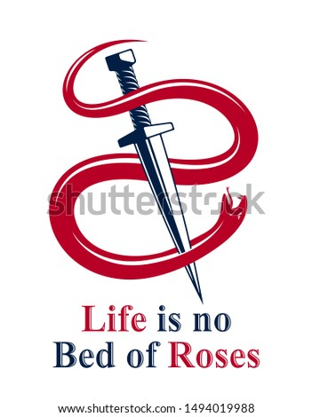 Dagger kills a Snake, defeated Serpent wraps around a sword vector vintage tattoo, Life is a Fight concept, allegorical logo or emblem of ancient symbol.