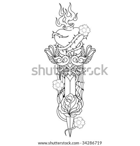 Dagger Tattoos on Dagger Tattoo Outline Artwork Stock Vector 34286719   Shutterstock