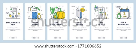 Daily habits website and mobile app onboarding screens. Menu banner vector template for web site and application development. Set reminder, goals and form healthy habits eat vegetables, drink water. Stockfoto ©