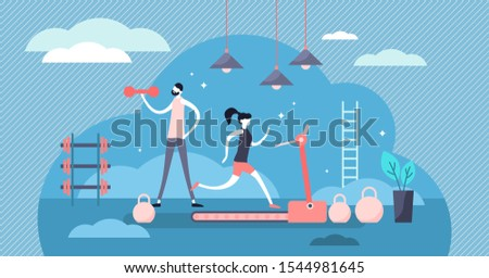 Daily life gym vector illustration. Flat tiny sport exercise scene persons concept. Healthy everyday lifestyle with training activity and recreation schedule. Physical strength trainer with slim fit.