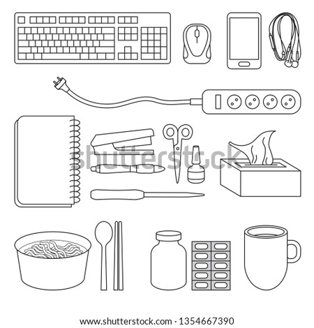 daily life items, daily items vector icons, office items vector, survive items vector