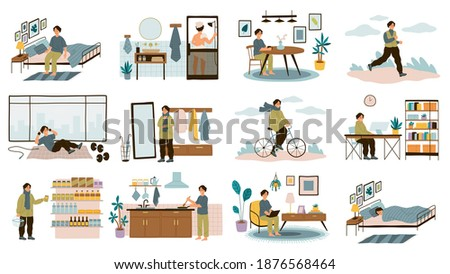 Daily man routine. Everyday young guy life activities, male leisure and work, home and office, sport and walk, sleep and breakfast. Different everyday situations. Vector cartoon isolated concept set Stock photo ©
