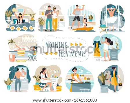 Daily morning routine of man and woman cartoon characters, vector illustration. People waking up, washing, dressing and cooking breakfast at home. Couple stretching, drinking morning coffee together
