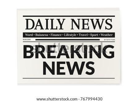 Daily news newspaper. Breaking news headline magazine