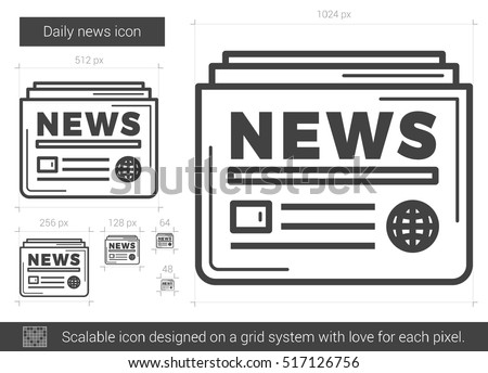 Daily news vector line icon isolated on white background. Daily news line icon for infographic, website or app. Scalable icon designed on a grid system.