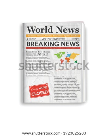 Daily newspaper journal design template with editable headlines quotes text articles and color images. Vertical folded newspaper layout. Vector illustration.