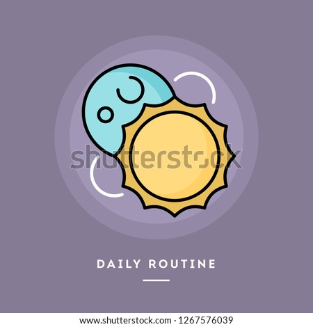 Daily routine, day and night, flat design thin line banner, usage for e-mail newsletters, web banners, headers, blog posts, print and more. Vector illustration.