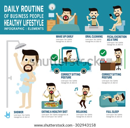 daily routine of happy business people. infographic element.health care concept.vector flat icons graphic design.daily work illustration.