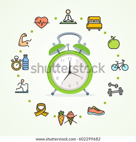 Daily Routines Fittness Concept Healthy Life with Alarm Clock Symbol. Vector illustration