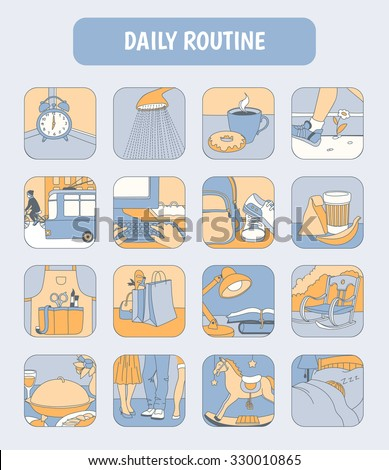 daily routines icon set