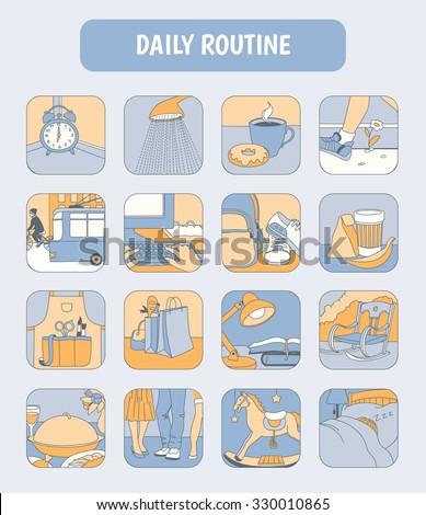daily routines icon set