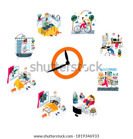 Daily routing of young woman. Girl waking up, showering, eating breakfast, commute to work, working in office, shopping in store, watching tv, sleeping. Schedule vector illustration. Foto stock ©