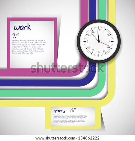 daily schedule with clock and all daily activity