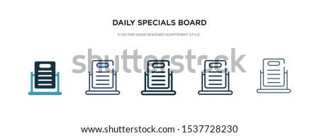 daily specials board icon in different style vector illustration. two colored and black daily specials board vector icons designed in filled, outline, line and stroke style can be used for web,