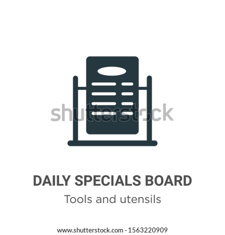 Daily specials board vector icon on white background. Flat vector daily specials board icon symbol sign from modern tools and utensils collection for mobile concept and web apps design.