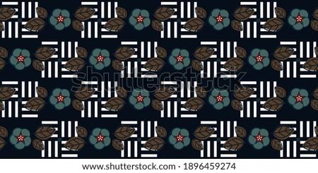 Dainty floral motif marine blue flower pattern conceptual geometric design. Minimalist monochromatic background simple geo allover print block for ladies dress fabric, apparel textile, fashion garment Stockfoto ©