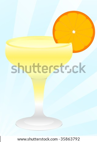 Daiquiri cocktail in champagne glass with a slice of orange over blue background