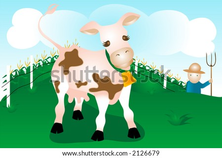 Dairy Cow on farm with farmer,cornfield and sky background.