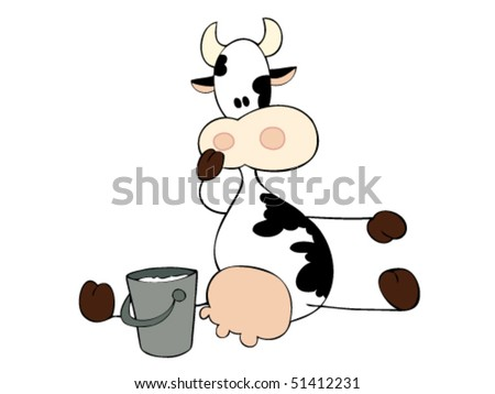 Dairy cow sitting with milk bucket.