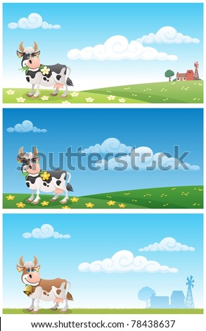 Dairy Farm: Cartoon cow grazing on a meadow. The illustration is in 3 different versions. On 2 of them you can see the buildings of a diary farm in the distance. Proportions are 2:1.
