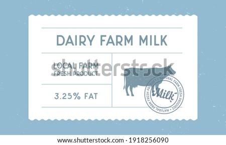 Dairy farm milk vintage label. Milk, dairy products vintage packaging design. Cow milk warranty, label, tag, sticker design for packaging. Hipster vintage old label template. Vector illustration