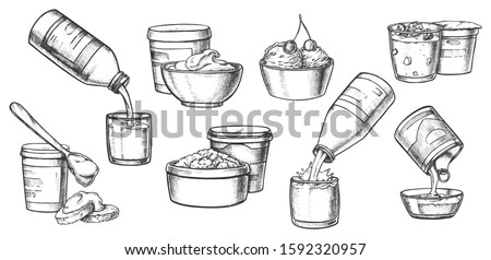 Dairy milk products, vector pencil sketch icons. Organic farm dairy food cheese, yogurt and, sweet condensed milk splash in bottle, sour cream and cottage cheese, ice cream dessert and kefir