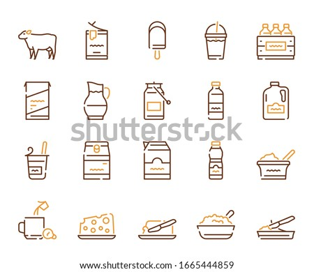Dairy produce color icon set. Milk Products. Editable stroke. Milk Production, Cow's Milk, Goat's Milk, Cheese, Yogurt, Ice Cream. Packaging, selling and delivery concept.