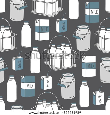 Dairy produce: hand drawn icon set seamless pattern. Blue and white illustration with dairy products. Decorative wallpaper, good for printing. Colorful background vector