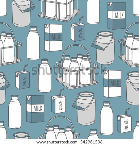 Dairy produce: hand drawn icons set seamless pattern. Blue and white illustration with dairy products. Decorative wallpaper, good for printing. Colorful background vector