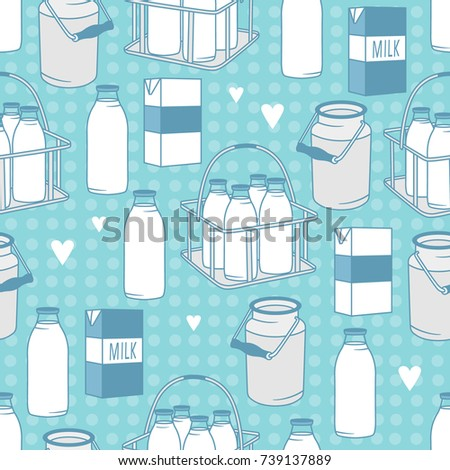 Dairy produce: hand drawn seamless pattern. Blue and white illustration with dairy products. Decorative wallpaper, good for printing. Colorful background vector