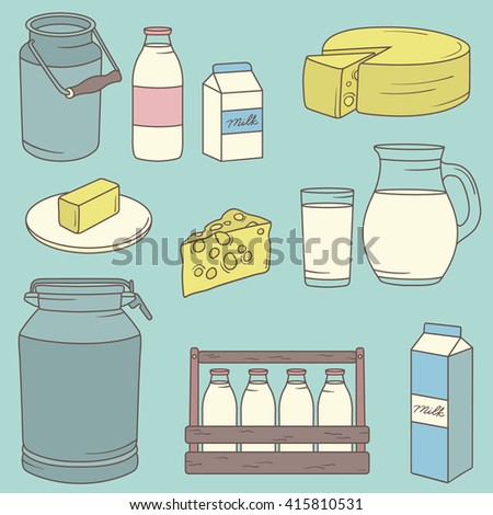 Dairy produce: icon set hand drawn. Big collection sketch objects. Vector illustration