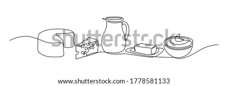 Dairy products in continuous line art drawing style. Cheese, milk, butter and sour cream black linear sketch isolated on white background. Vector illustration