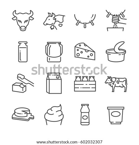 Dairy products line icon set. Included the icons as cow, cheese, yogurt, milk, ice cream, butter and more.