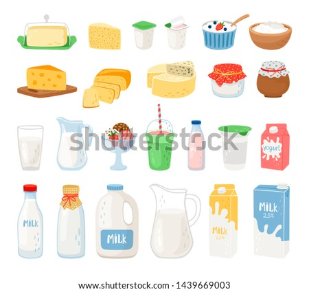 Dairy products, milk, cheese yoghurt and ice cream. Cheese and milk, food healthy. Vector illustration