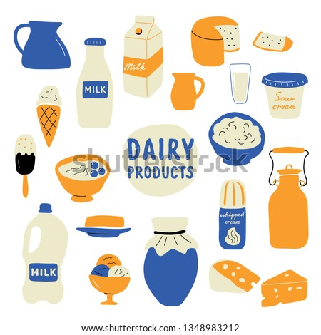Dairy products set: milk, cheese, butter, sour cream, ice cream, yogurt, cottage cheese, whipped cream. Funny doodle hand drawn vector illustration. Cute cartoon food collection, isolated on white.