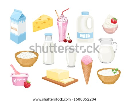 Dairy products set. Milk in bottle, jug, glass, box and gallon, cheese, milk shake, whipped cream, cottage cheese, yogurt, butter, ice cream and sour cream isolated. Vector cartoon flat illustration.