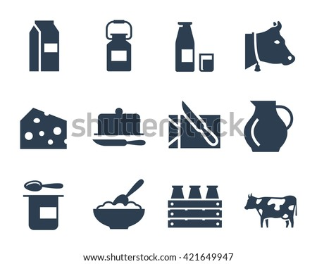 Dairy products vector icon set
