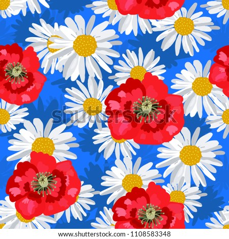 daisies and poppies in a