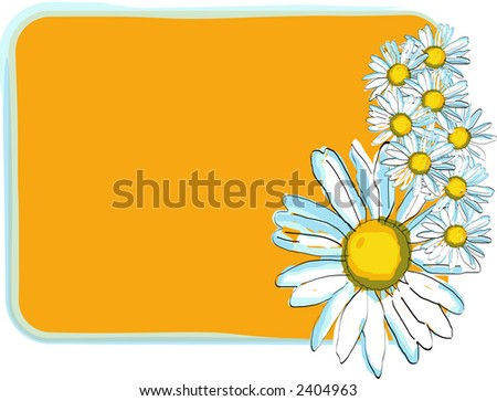 Daisies floral frame, scalable, editable colors - vector illustration