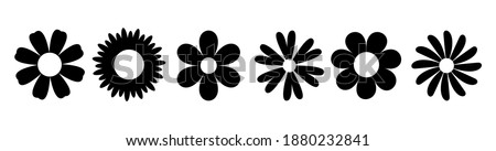 Daisy Camomile. Six chamomile silhouette shape icon line set. Cute round flower plant nature collection. Love symbol. Growing concept. Decoration element. Flat design. White background. Vector Сток-фото ©