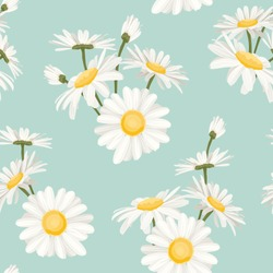 Daisy chamomile field meadow spring summer flowers seamless pattern on light blue sky background. Trendy ditsy floral texture for print, fashion, textile, fabric, decoration, wrapping.