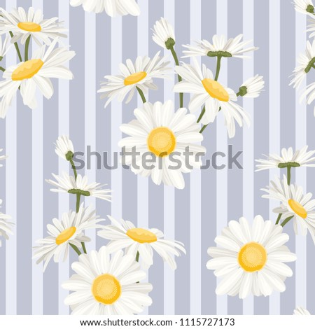 Daisy chamomile spring summer field flowers seamless pattern on blue white vertical stripes background. Beautiful ditsy floral texture for fashion, textile, fabric, decoration, wrapping. Vector design