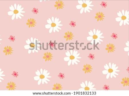 Daisy flower design art pattern.esign daisy pattern daisy seamless pattern vector design hand drawn spring daisy flower fabric towel design pattern summer print ditsy flower,spring,stationary,fabric