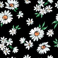 daisy flower print on black background - seamless background