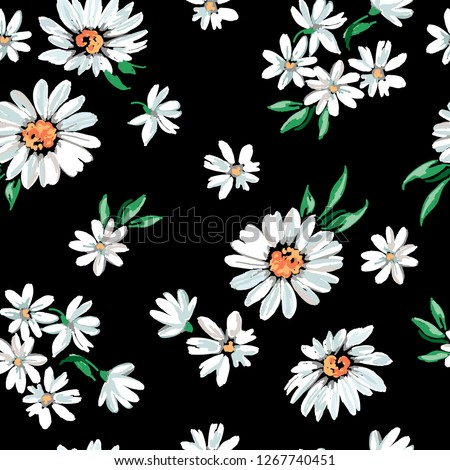 daisy flower print on black background - seamless background