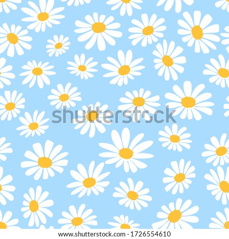 Daisy flower seamless on blue background illustration. Pretty floral pattern for print. Flat design vector. Stockfoto ©